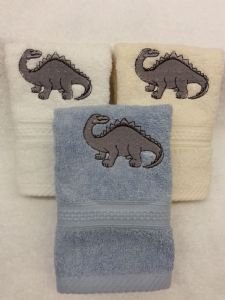 DINOSAUR PERSONALISED FACE CLOTH / FLANNEL- STEGOSAURUS